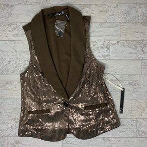 NWT Have Brown Sequin Collared Vest Size S